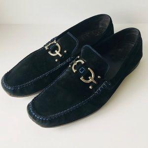 Donald J. Pliner Black Blue Suede Loafers Size 11